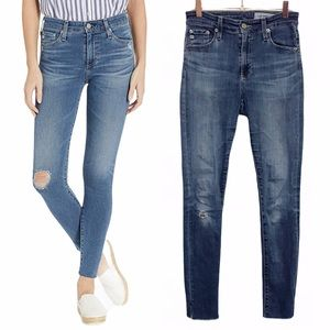 AG High Rise Farrah Skinny Ankle Distressed Jeans